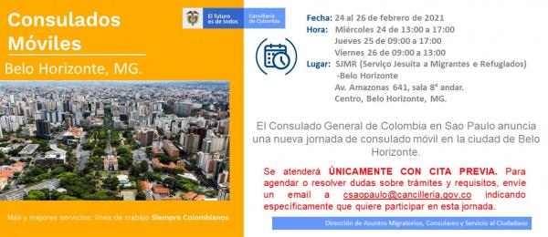 Consulado de Colombia en Sao Paulo anuncia una nueva jornada de Consulado Móvil en Belo Horizonte del 24 al 26 de febrero