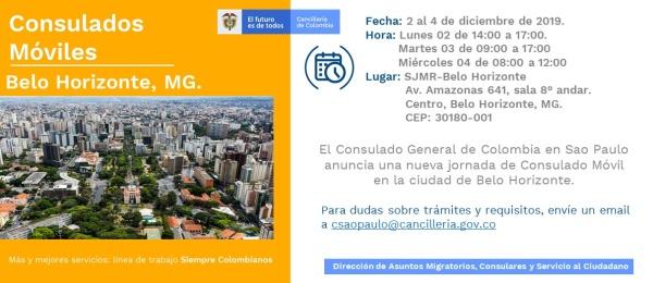 Del 2 al 4 de diciembre el Consulado de Colombia en Sao Paulo realizará la jornada móvil