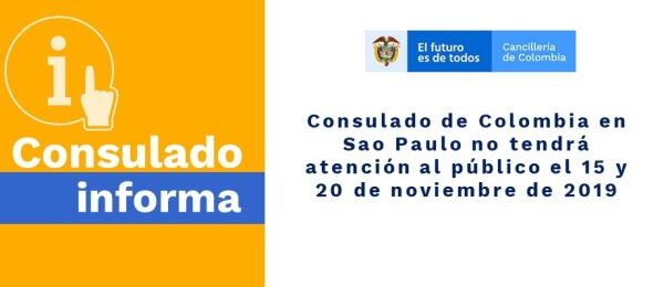 Consulado de Colombia en Sao Paulo no tendrá atención al público el 15 y 20 de noviembre