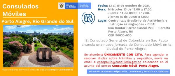 Consulado de Colombia en Sao Paulo realizará una nueva jornada de Consulado Móvil en Porto Alegre del 13 al 15 de octubre