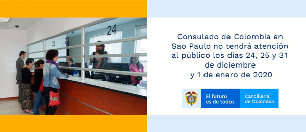 Consulado de Colombia en Sao Paulo no tendrá atención al público