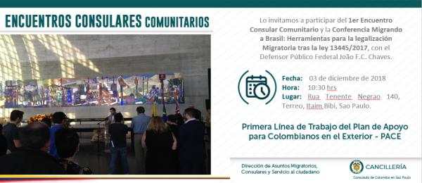 Consulado General de Colombia en Sao Paulo invita a participar del primer Encuentro Consular Comunitario